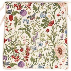 Galette de Chaise motif Fleurs du Jardin en Tapisserie