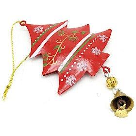 Sapin à suspendre en Métal rouge décor Flocons de Neige