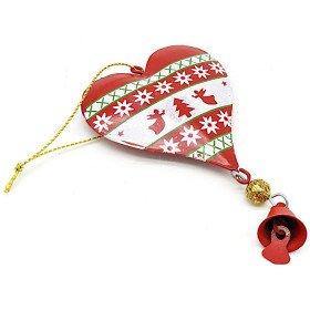 Coeur à suspendre en Métal rouge décor Noël