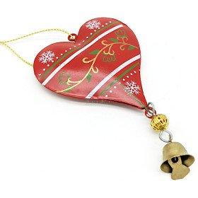 Herz zum Aufhängen aus rotem Metall mit Schneeflocken-Dekor