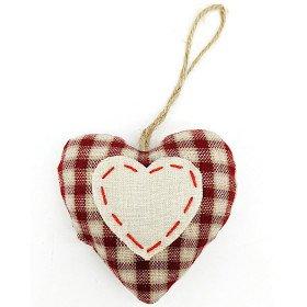 Elsässer Herz mit Stoff bezogen zum Aufhängen