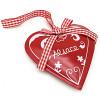 Coeur décoratif Métal Rouge Alsace et ruban Vichy