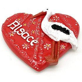 Magnet Décoratif Coeur rouge Alsace avec Cigogne