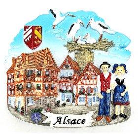 Magnet Décoratif Village avec Maison et Nid de Cigogne La Boite aux Trésors à Obernai