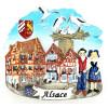 Dekorativer Dorfmagnet mit Haus und Storchennest
