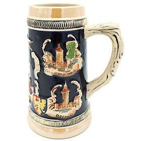 Chope à Bière droite en Faience décor Villes d'Alsace 50 cl La Boite aux Trésors à Obernai