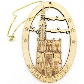 Straßburger Münster ovale Holzdekoration zum Aufhängen