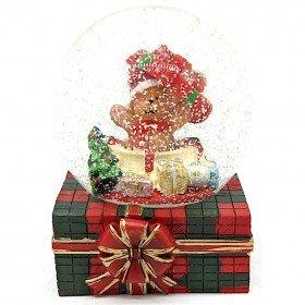 Große Schneekugel mit Teddybär und Geschenken in La Boite aux Trésors in Obernai
