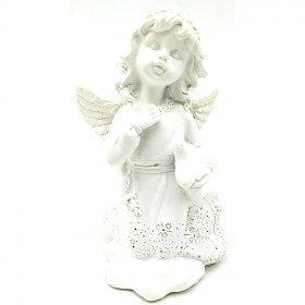 Statut Ange avec Ailes portant un Coussin en résine