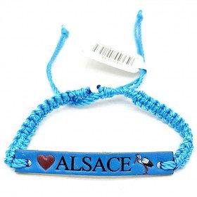 Ausgefallenes blaues Schiebearmband Alsace Cigogne Leder in La Boite aux