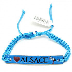 Bracelet coulissant Bleu fantaisie Cuir Alsace Cigogne La Boite aux Trésors à Obernai