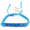 Ausgefallenes blaues Schiebearmband Alsace Cigogne Leder