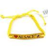 Ausgefallenes gelbes Schiebearmband Alsace Cigogne Leder
