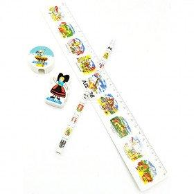 Papierstift-Set mit Radiergummi, Lineal und Bleistiftspitzer mit elsässischem