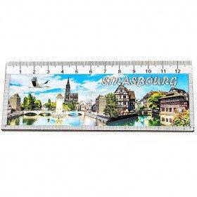 Decorative Magnet Ruler 13 cm Strasbourg decor embossed La Boite aux Trésors to Obernai