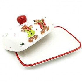 Ceramic Butter Dish Mannele decor in Gingerbread La Boite aux Trésors to Obernai