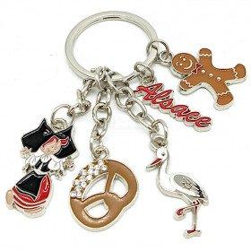 Schlüsselanhänger Elsass mit 5 Charms aus Metall und Strass