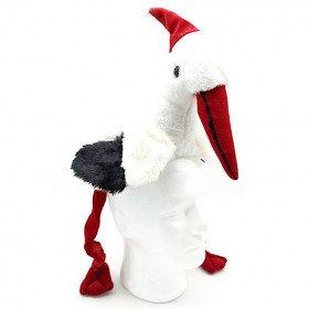 Bonnet Enfant Cigogne en Peluche d'Alsace et chapeau de Noël 70 cm