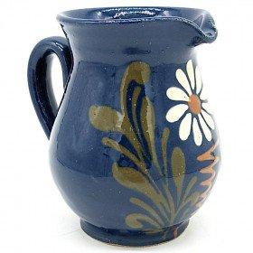 Pichet à Vin 50 cl Bleu de Soufflenheim Marguerite La Boite aux Trésors à Obernai