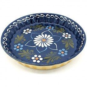 Kuchenform 30 cm Bleu de Soufflenheim Gänseblümchen