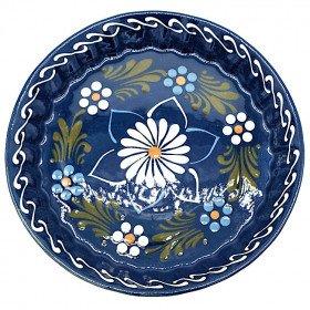 Plat à Tourte 30 cm Bleu de Soufflenheim Marguerite La Boite aux Trésors à Obernai