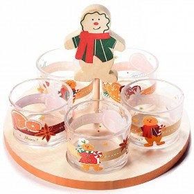 Aperitif-Set 5 Glasschalen auf Holztablett Mannele
