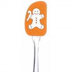 Spatule en Silicone décor Mannele Pain d'Epices Orange