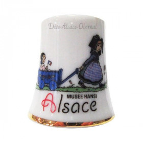 Ceramic Thimble Hansi Girl Pulling a Cart