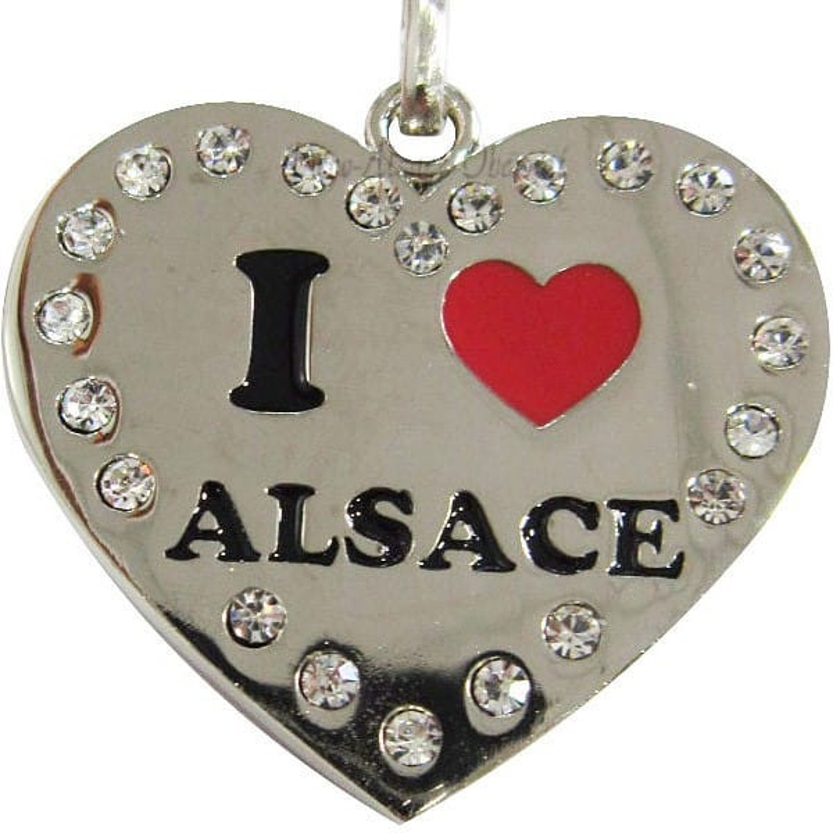 Porte Clé Coeur Brillant Alsace et Strass