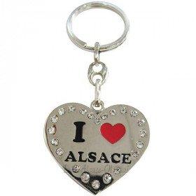Porte Clé Coeur Brillant Alsace et Strass La Boite aux Trésors à Obernai