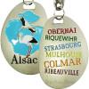 Porte Clé Duo de Cigognes d'Alsace et Villes d'Alsace
