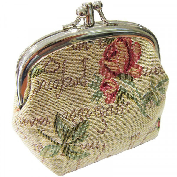 Porte Monnaie Rose en Fleurs en Tapisserie