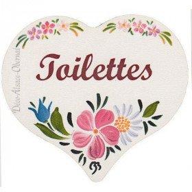 Plaque de Porte en Bois Toilettes imprimé façon Polychrome