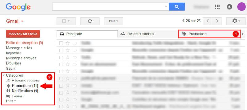 Er kam in der Registerkarte Google Mail-Werbeaktionen an