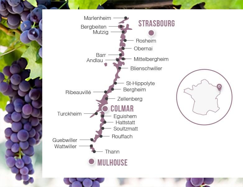 Karte Elsässer Wein